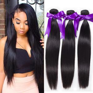 Brazilian-Virgin-Remy-Human-Hair-Extensions-Weave-Straight-3-Bundle-Weaving-150g