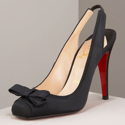 895 NEW Christian Louboutin NOOKA 100 Satin Crepe Pumps Black BOW shoes 37.5