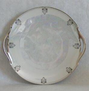 Vintage-Tirschenreuth-Platinum-Opalescent-Cake-Plate-Bavaria