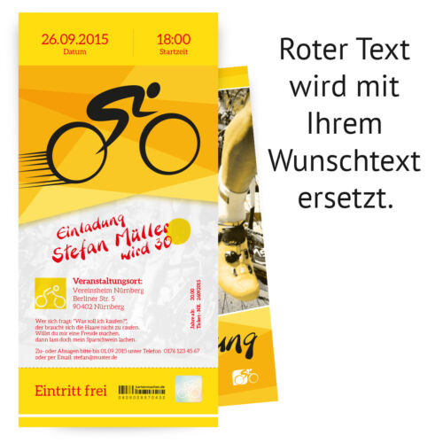 Invitations Bicycle Race Ticket Ticket Wheel Tour Invitation Cards