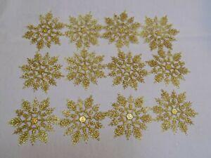 Gold-Plastic-Glitter-Metallic-Snowflake-Set-12-Lot-Christmas-Holiday-Ornaments