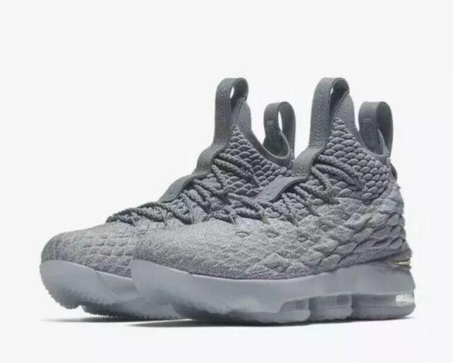 328b80732fad5 Nike Lebron XV 15 Big Kids 922811-005 Wolf Grey Gold Basketball ...