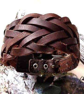 Men/'s  Cool Skull Hip Hop Character Biker Surfer Handmdade Leather Wristband