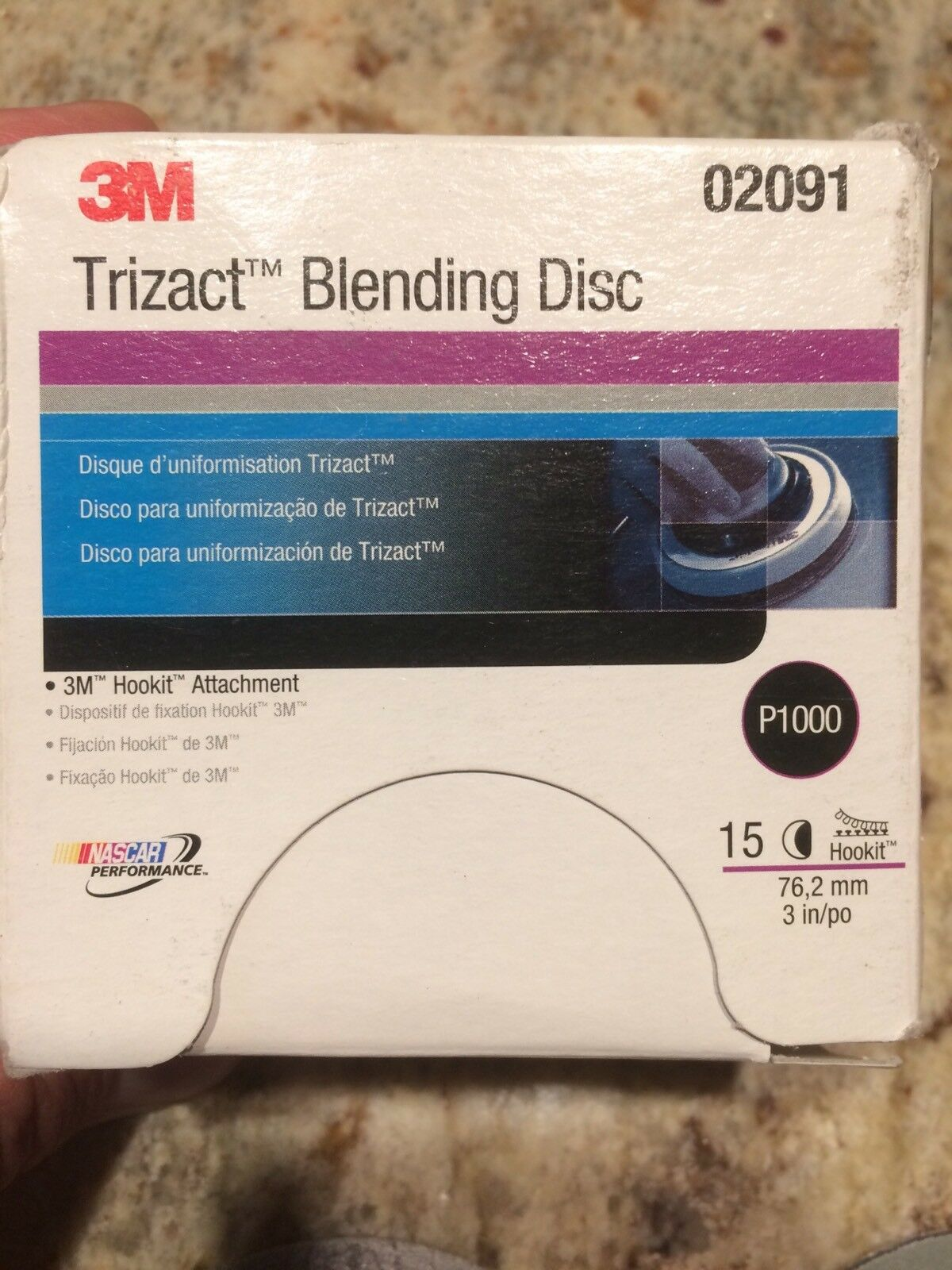 P1000 Grit 3 Inch 3M 02091 Trizact Hookit Blending Disc 15 Discs Per Box