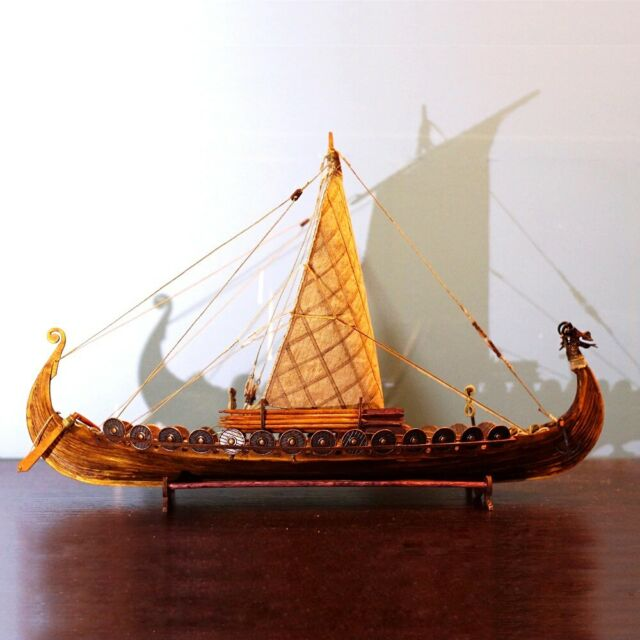 Hampton Nautical Wooden Viking Drakkar with Embroidered Raven Limited Model Boat 24