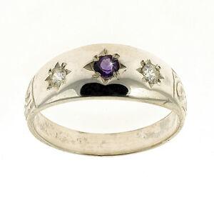 Amethyst-Ring-Gypsy-Ring-Sterling-Silver-Handmade-In-Jewellery-Quarter-B-039-ham