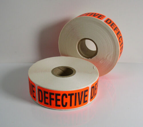 "/""DEFECTIVE/"" Label 2-5//8/"" x 1/"" Sticker Inventory Control 2 Rolls of 500 1000"