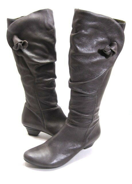 Web Fabricantes De Calzado Para Mujer knee-high low-heel low-heel low-heel Bota gris Oscuro Cuero euros Talla 42 Med  saludable