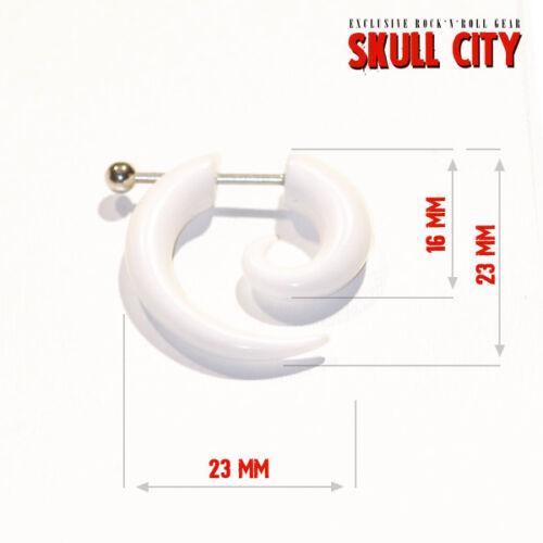 Fake Spirale Fakespiral weiss Piercing Ear Plug weiß WHITE FAKE SPIRAL LARGE