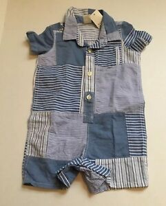 9534384ef476 New Boys Baby Gap Striped Blue Patch Shorts One piece Romper 6-12 ...
