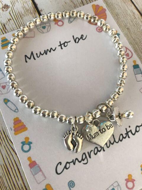 Mum to be pregnancy charm baby shower bracelet gift