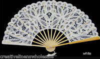 White Victorian Battenburg Lace Wedding Bridal Fan Wedding Party Supply