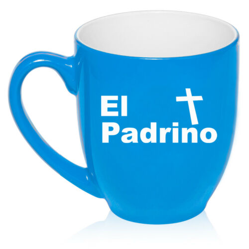 16oz Bistro Mug Ceramic Coffee Glass El Padrino Christening Baptism Godfather
