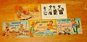Vintage-Lot-5-1940-039-s-Unused-Cowboy-Western-Humorous-Comic-Post-Cards