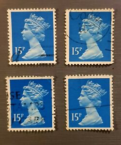 Queen-Elizabeth-II-Postage-Stamps-Lot-of-4-Fine-Used-15p