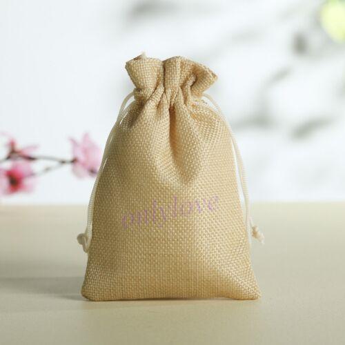 10-100 Wedding Favor Hessian Burlap Jute Favour Gift Bags Drawstring Sack Pouch