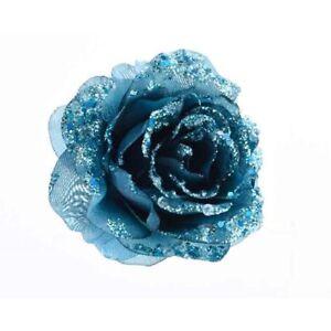 Albero Di Natale Petrolio.Dettagli Su Rosa Blu Petrolio Con Clip Albero Di Natale Addobbi Natalizi Palline 629991