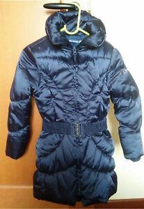 Piumino-raso-blu-bimba-6-anni-O-M-giacchino-bianco-pellicciotto-nuovo