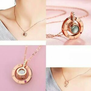 Custom Projection Rose Gold Necklace Personalized Name Women Jewelry Gift Her Ebay