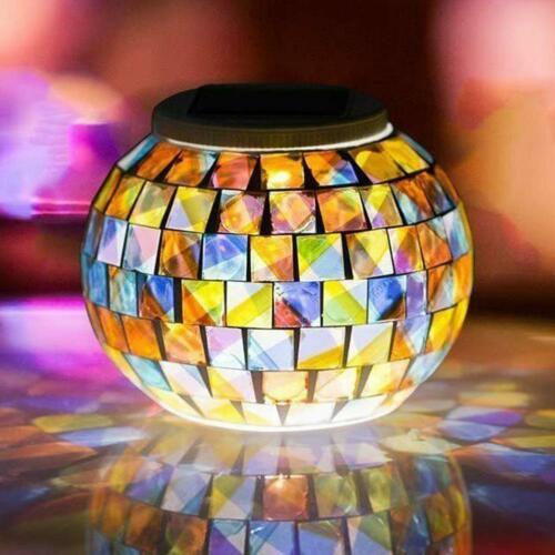 Solar Mosaikleuchte Regenbogen Tischleuchte Glasleuchte Solarlampe Außen Garten