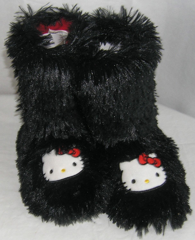 Hello Kitty Slipper Booties BLACK SHAG NICE GIFT FREE USA SHIPPING SMALL 5-6