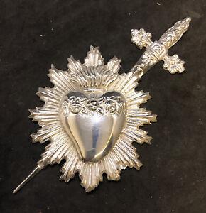 Sacro cuore spada Addolorata accessorio per statua sacra fiamma 11x10 cm ottone