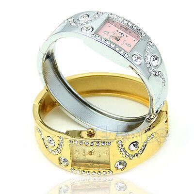 Fashion Chic Bracelet Bangle Wave Rhinestone Crystal Wrist Watches Women Girls