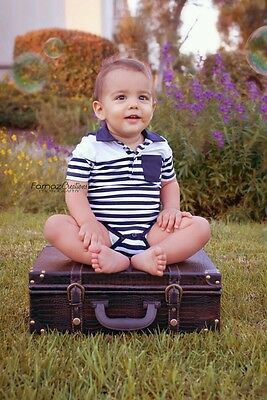Baby Boy Everyday Cotton Navy Blue & White Striped Polo Style Bodysuit - 3-12mth