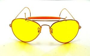 45380d321c Image is loading vintage-aviator-gold-metal-yellow-lens-sunglasses-nos-