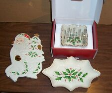 "LOT OF 2 LENOX HOLIDAY CANDY DISHES 4.25"" & 8.75"" AND 1 SANTA WALL PLAQUE"