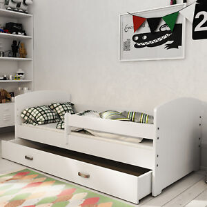 Wooden Storage Slatted Bed Frame With Mattress 80x160