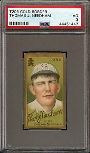 1911-T205-Gold-Border-Thomas-J-Needham-Sweet-Caporal-Chicago-Cubs-PSA-3-VG