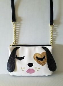 BETSEY-JOHNSON-White-Black-Pretty-Face-Glitter-Crossbody-Bag-Women-Handbag