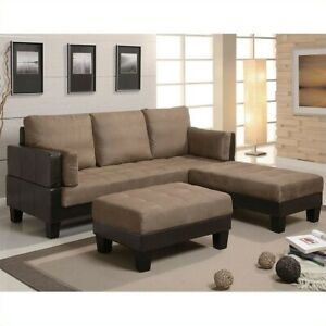 Details about Coaster Ellesmere 3 Piece Faux Leather Sleeper Sofa and  Ottoman Set
