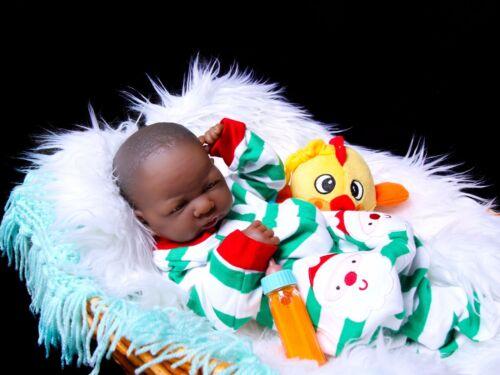 African American Reborn Baby Toy Boy Doll Full Vinyl Baby Preemie Gift Lifelike
