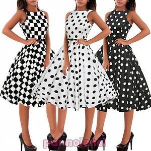 timeless design f2963 35095 Dettagli su Abito donna vestito pinup anni '50 rockabilly pois scacchi  quadri nuovo DL-1950