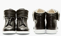 MAISON MARTIN MARGIELA HIGH-TOP SNEAKERS IN BLACK OSTRICH LEATHER SIZE 41