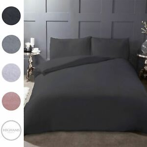 Highams-100-Brushed-Cotton-Duvet-Cover-Pillowcase-Plain-Flannelette-Bedding-Set