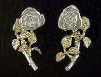 Single Rose Earrings, Sterling Silver & 14k Gold, Steven Douglas Retired Design