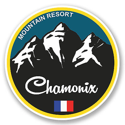 2 x Chamonix Ski Snowboard Vinyl Sticker Laptop Travel Luggage Car #5130