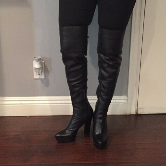 "Calvin Klein ""Brynn"" Black Leather Over the Knee Boots U.S. Size 8M"