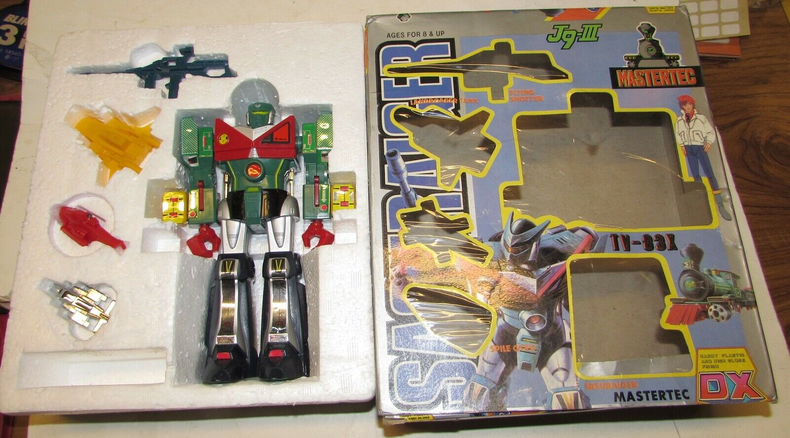 VINTAGE sasuraiger Shogun Robo mastertec DX J9 III rorbot nella scatola original
