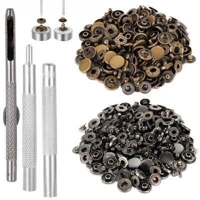 outil 4 pcs Bouton pression metal 30 pièces noir charcoal 12 mm