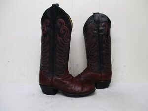 3ffbe87ac25 Details about Tony Lama Burgundy Eel Skin Leather Cowboy Boots Womens Size  4.5 C Style 0790