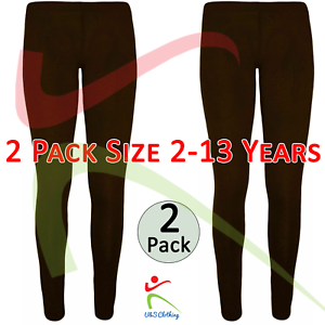 2-PACK-Girls-Ankle-Length-Stretch-Fit-Cotton-Chocolate-Leggings-Casual-2-13-YRS