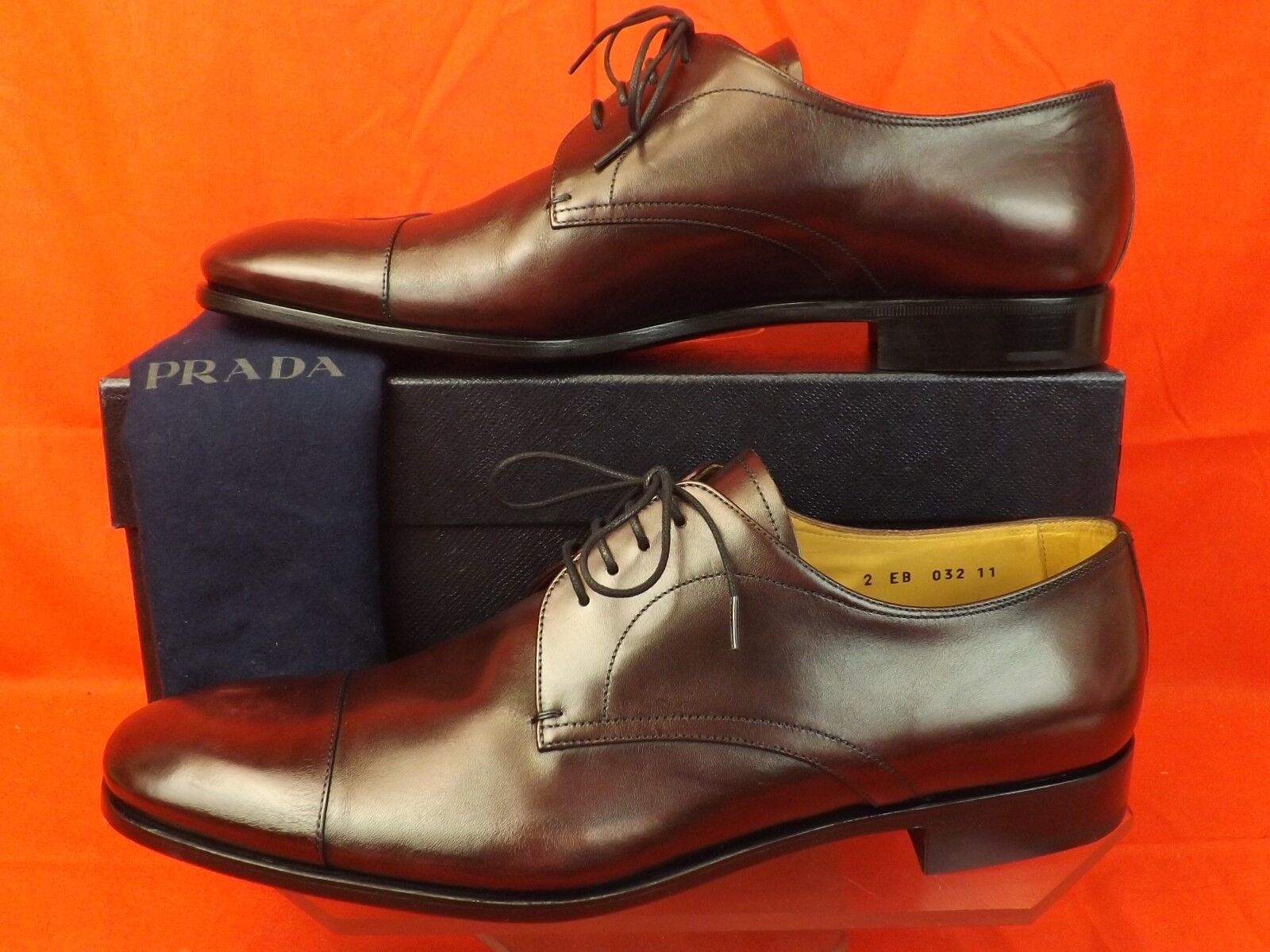 NIB PRADA BURGUNDY BURNISHED LEATHER LACE UP CLASSIC OXFORDS 11 12  780
