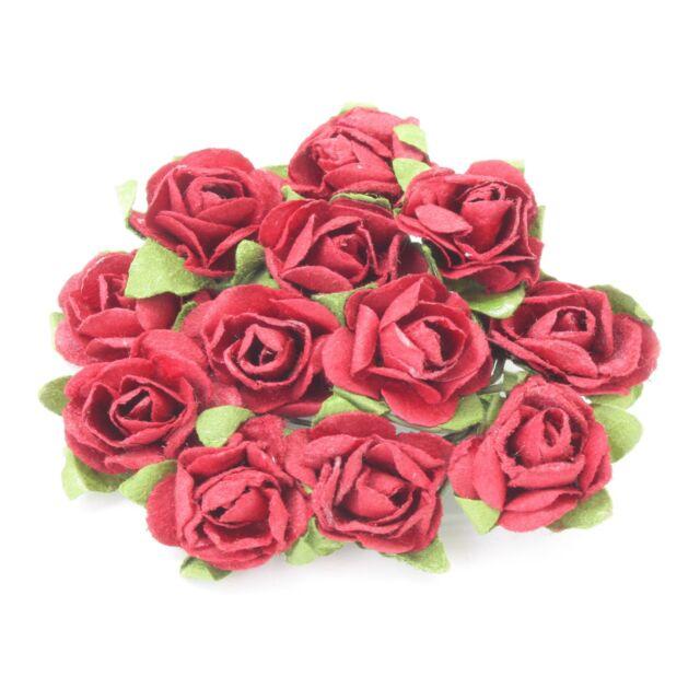 12 x 15mm Paper Rose Flowers Burgundy