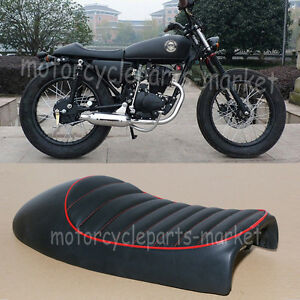 Details about Honda CB125S CL100 CL350 CL450 Vintage Hump Cafe Racer Seat  Black Red Stitch New
