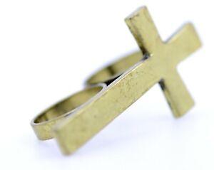 Style vintage réglable bronze chauve-souris bague double doigts