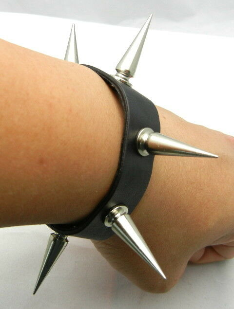 Long 30mm Metal Spike Punk EMO Biker Gothic Leather Bracelet Wristband TEW125
